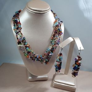 Jewelry - multi colored 4 stranded necklace set
